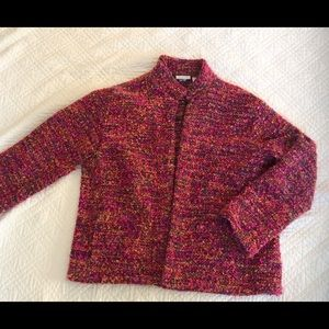 Chico's Boucle Open Blazer Jacket Pink Sz 2 or M